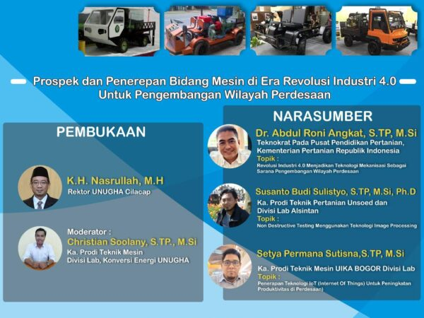 Info Webinar : Prospek dan Penerepan Bidang Mesin di Era Revolusi Industri 4.0 Untuk Pengembangan Wilayah Perdesaan