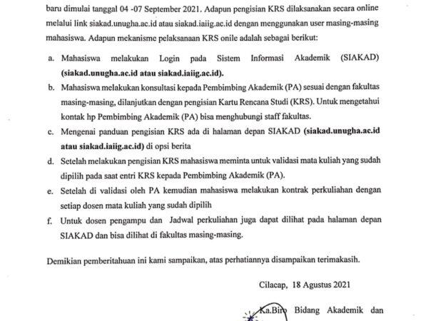 Pengisian KRS Semester Gasal Tahun Akademik 2021-2022